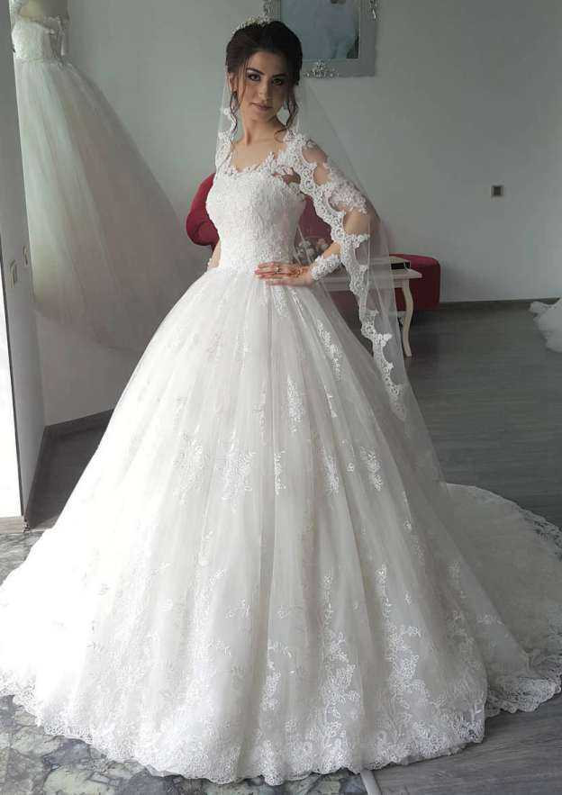 Ball Gown Scoop Neck Full/Long Sleeve Sweep Train Lace Wedding Dress With Appliqued