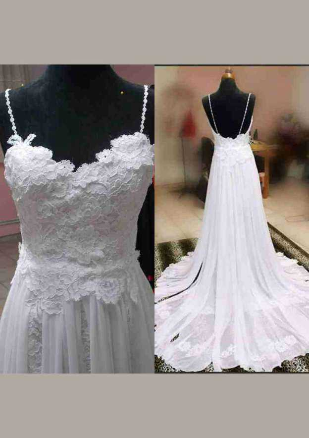 A-Line/Princess Sweetheart Sleeveless Court Train Chiffon Wedding Dress With Appliqued Lace