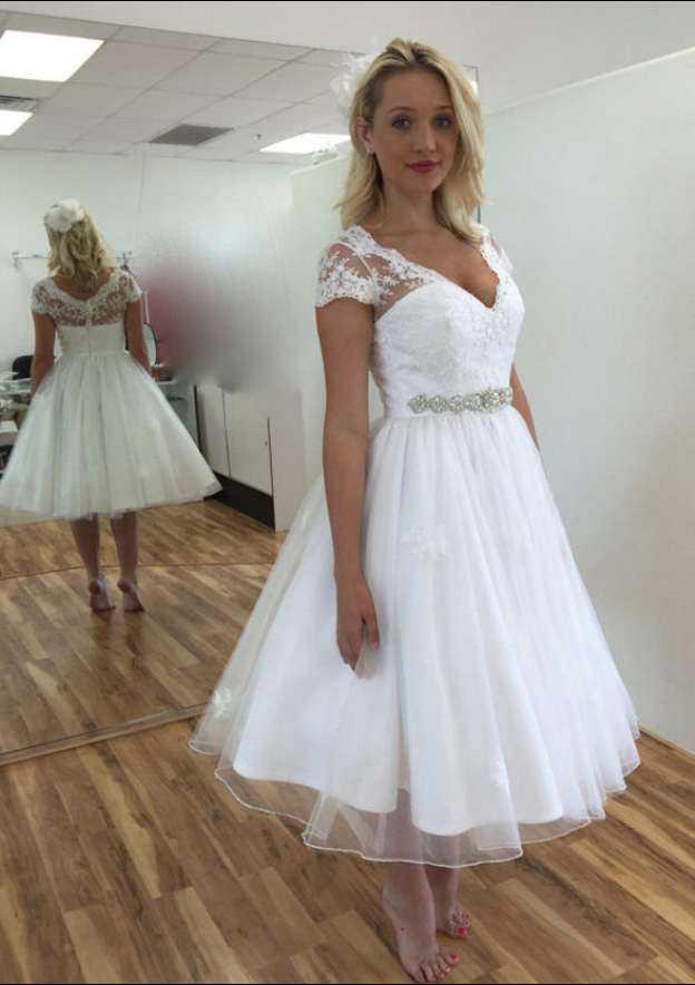 Ball Gown V Neck Short Sleeve Tea-Length Organza Wedding Dress With Appliqued Beading