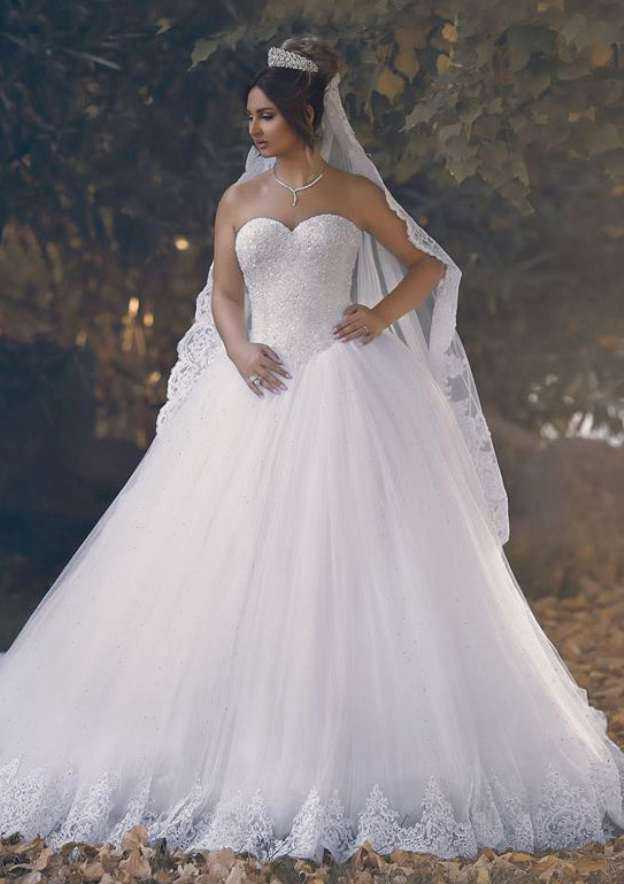 Ball Gown Sweetheart Sleeveless Court Train Tulle Wedding Dress With Beading