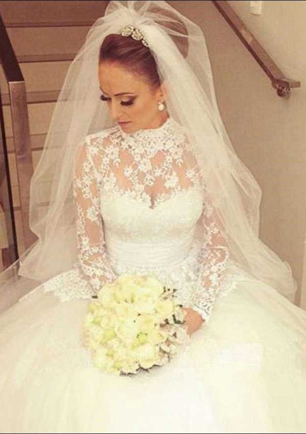 Ball Gown High-Neck Full/Long Sleeve Court Train Lace Wedding Dress With Bowknot
