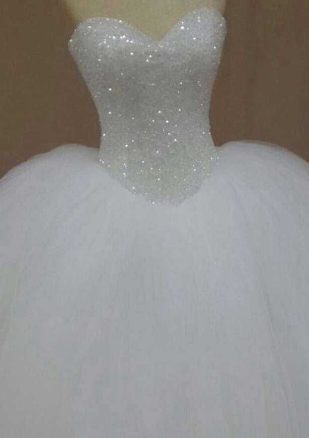 Ball Gown Sweetheart Sleeveless Long/Floor-Length Tulle Wedding Dress With Beading