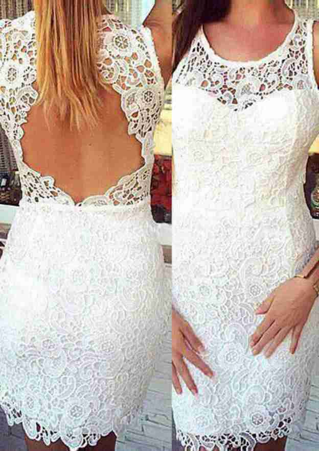 Sheath/Column Scoop Neck Sleeveless Short/Mini Lace Wedding Dress