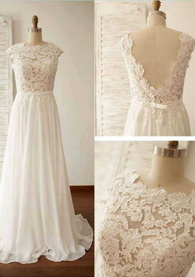 A-Line/Princess Scalloped Neck Sleeveless Sweep Train Chiffon Wedding Dress With Lace Waistband