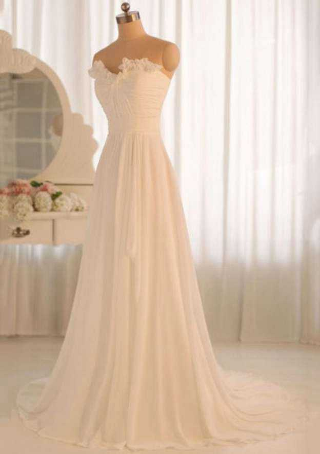 A-Line/Princess Scalloped Neck Sleeveless Court Train Chiffon Wedding Dress With Pleated