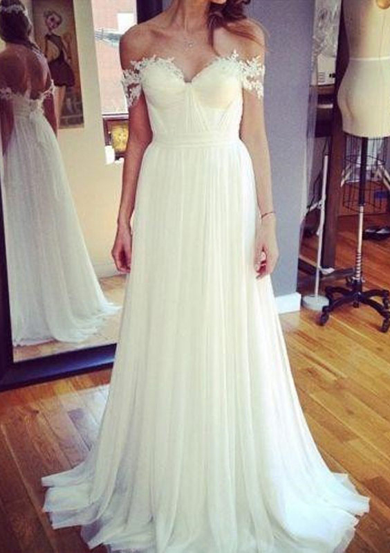A-Line/Princess Off-The-Shoulder Sleeveless Sweep Train Tulle Wedding Dress With Appliqued