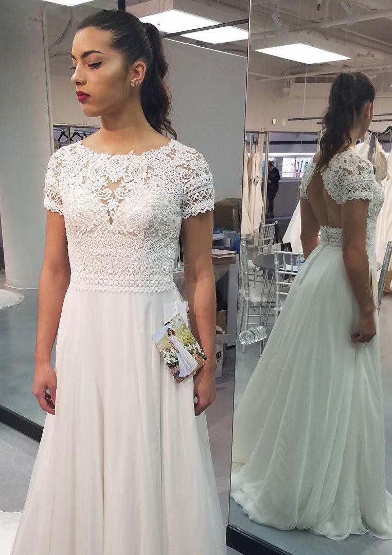 A-Line/Princess Bateau Short Sleeve Sweep Train Chiffon Wedding Dress With Appliqued Lace