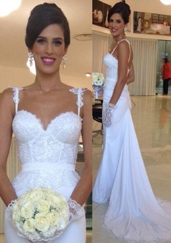Trumpet/Mermaid Sweetheart Sleeveless Court Train Elastic Satin Wedding Dress With Appliqued Lace Sashes