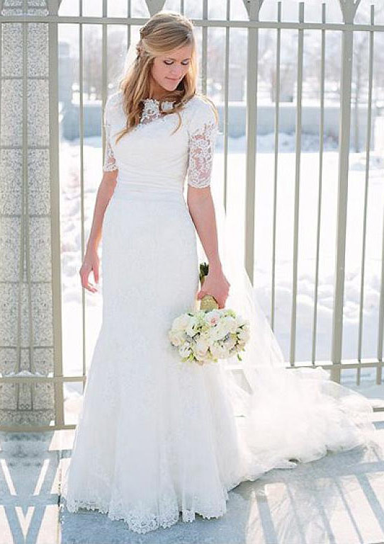 Sheath/Column Bateau Half Sleeve Court Train Lace Wedding Dress With Appliqued