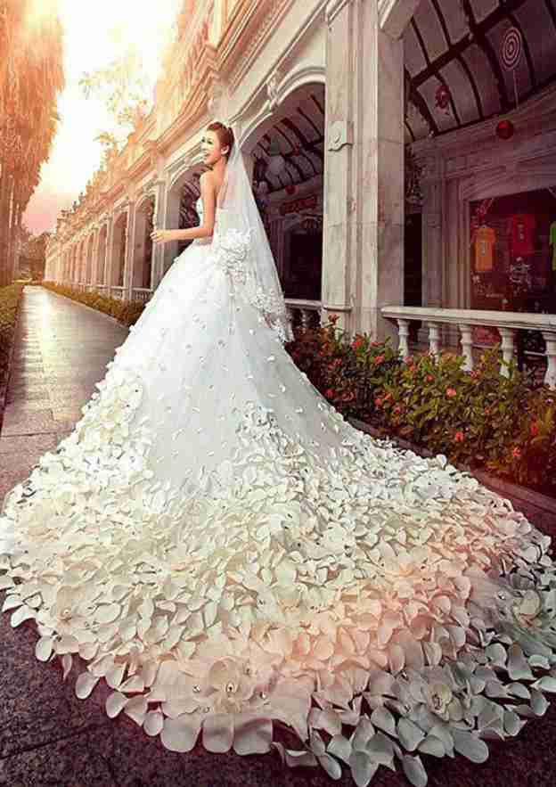 A-Line/Princess Strapless Sleeveless Cathedral Train Tulle Wedding Dress With Appliqued