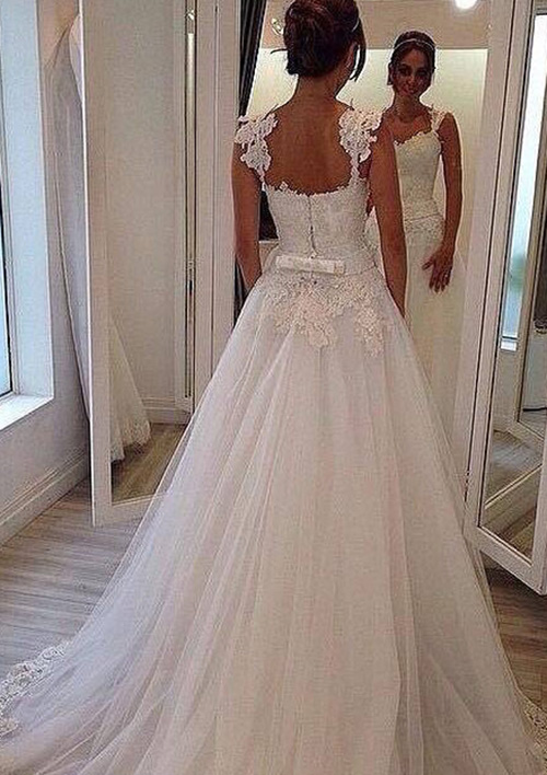 A-Line/Princess Sweetheart Sleeveless Court Train Tulle Wedding Dress With Appliqued Beading Lace Waistband