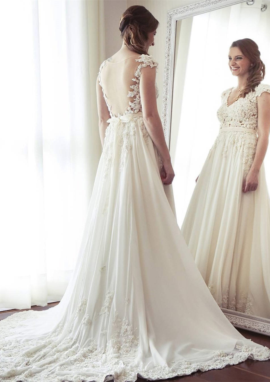 A-Line/Princess V Neck Sleeveless Court Train Chiffon Wedding Dress With Appliqued Beading Lace Sashes