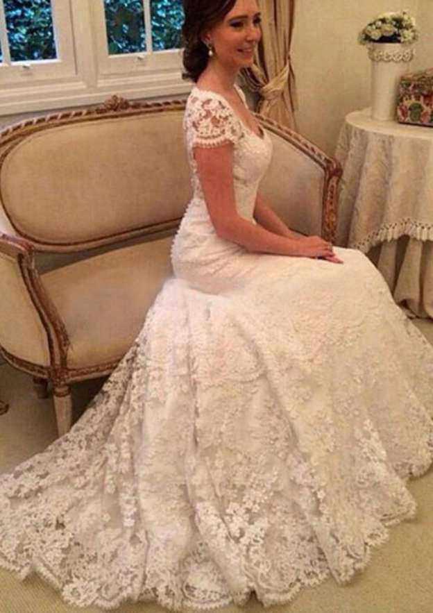 Sheath/Column V Neck Short Sleeve Court Train Lace Wedding Dress With Hem