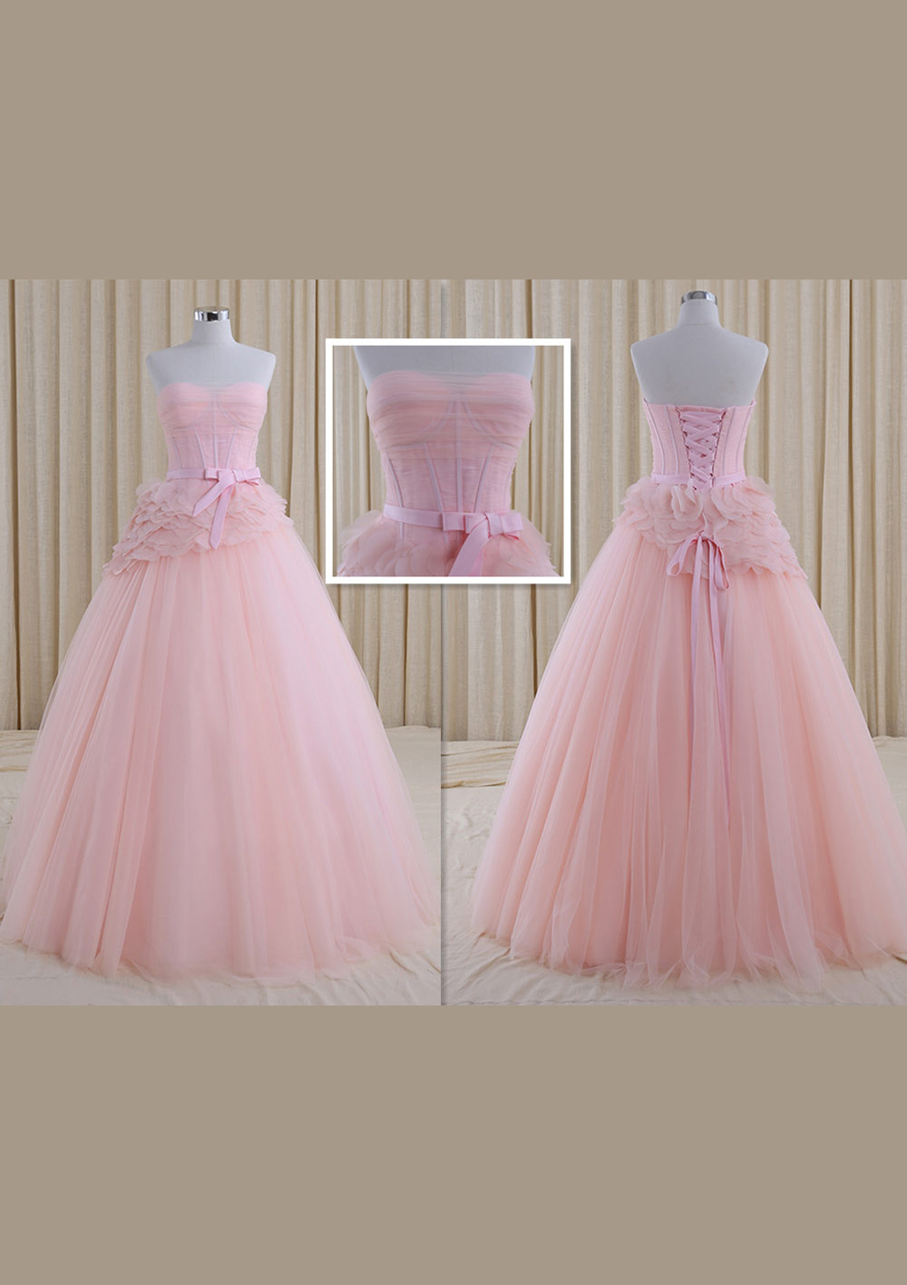 Ball Gown Strapless Sleeveless Long/Floor-Length Tulle Wedding Dress With Sashes Ruffles