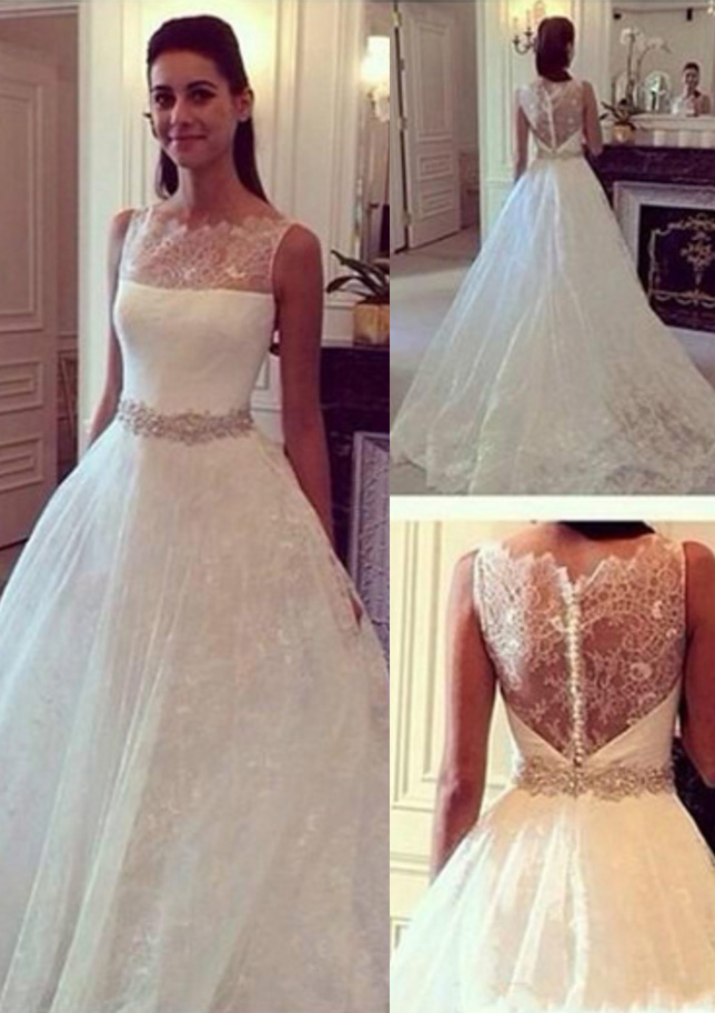 Ball Gown Scalloped Neck Sleeveless Chapel Train Lace Wedding Dress With Beading Waistband