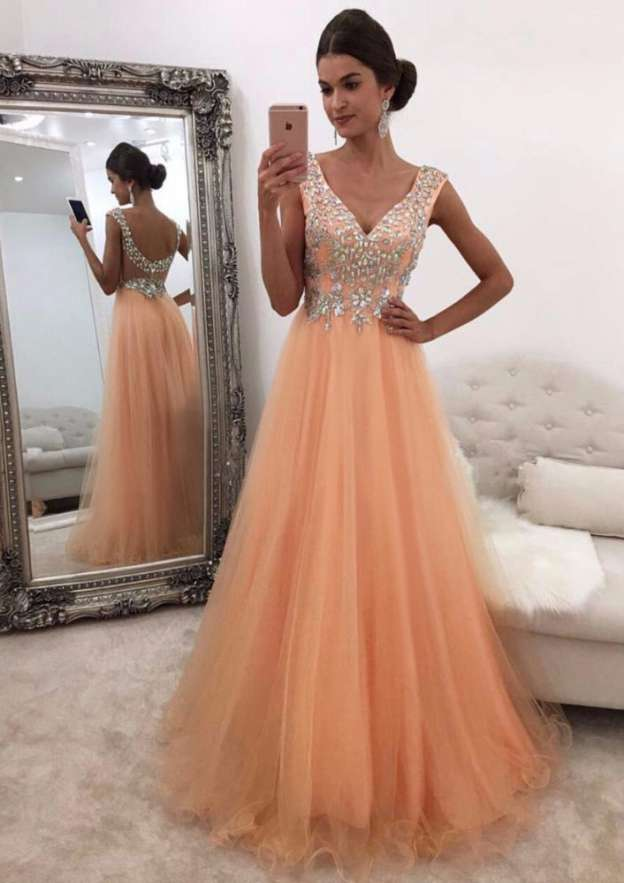 A-Line/Princess V Neck Sleeveless Long/Floor-Length Organza Prom Dress With Crystal