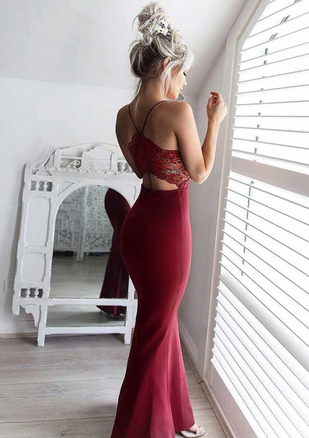 Sheath/Column Sweetheart Sleeveless Ankle-Length Jersey Prom Dress With Lace