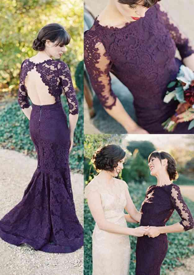 Trumpet/Mermaid Bateau 3/4 Sleeve Sweep Train Lace Prom Dress