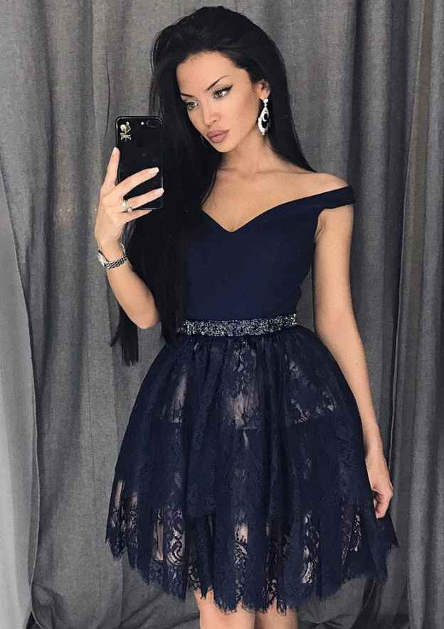 A-Line/Princess Off-The-Shoulder Sleeveless Short/Mini Lace Homecoming Dress With Beading