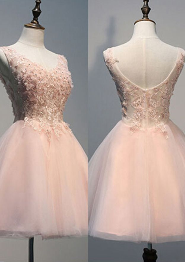 A-Line/Princess V Neck Sleeveless Knee-Length Tulle Prom Dress With Appliqued