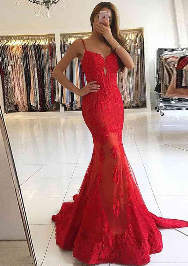 Trumpet/Mermaid Sweetheart Sleeveless Sweep Train Lace Prom Dress