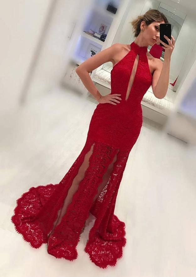 Sheath/Column High-Neck Sleeveless Sweep Train Lace Prom Dress