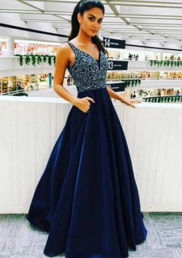 A-Line/Princess V Neck Sleeveless Long/Floor-Length Satin Prom Dress With Beading