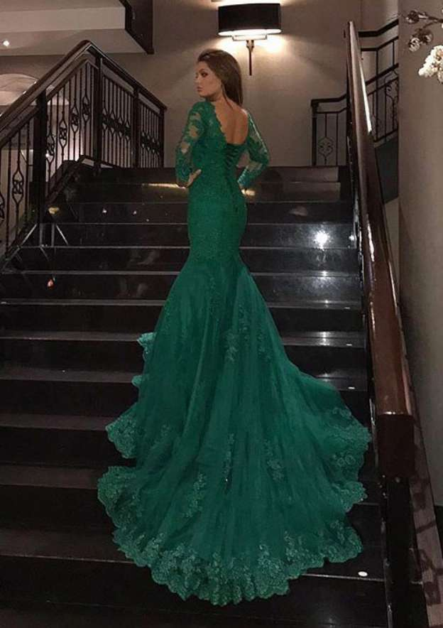 Trumpet/Mermaid Full/Long Sleeve Court Train Tulle Prom Dress With Lace