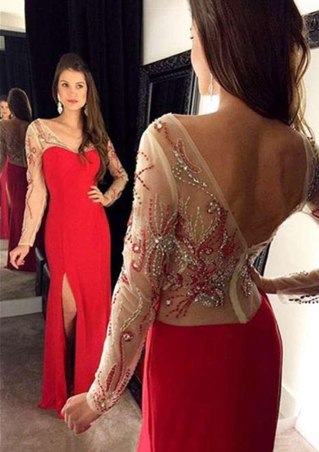 Sheath/Column V Neck Full/Long Sleeve Long/Floor-Length Elastic Satin Prom Dress With Beading Split