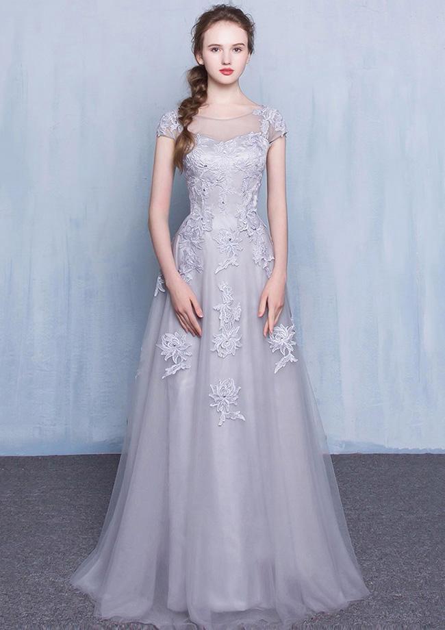 417c343d7532 A-Line/Princess Bateau Short Sleeve Long/Floor-Length Tulle Prom Dress With  Appliqued