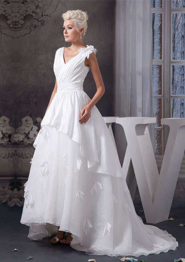 Ball Gown V Neck Sleeveless Asymmetrical Organza Wedding Dress With Flowers Sashes Shoulder Flower