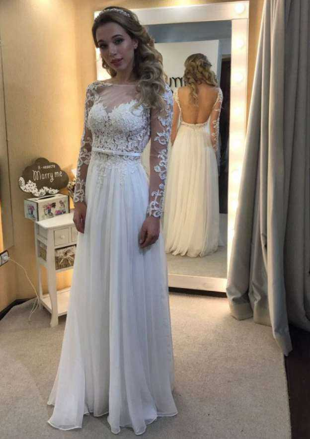 A-Line/Princess Bateau Full/Long Sleeve Long/Floor-Length Chiffon Wedding Dress With Appliqued Lace Waistband