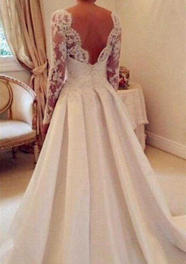 A-Line/Princess Scalloped Neck Full/Long Sleeve Court Train Satin Wedding Dress With Lace