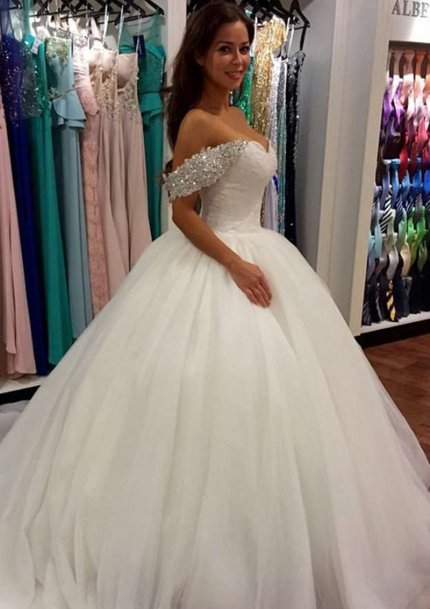 Ball Gown Off-The-Shoulder Sleeveless Cathedral Train Tulle Wedding Dress With Appliqued Beading