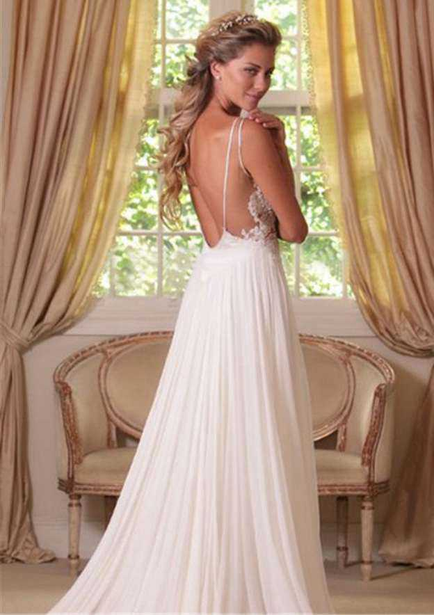 A-Line/Princess V Neck Sleeveless Sweep Train Chiffon Wedding Dress With Appliqued Lace