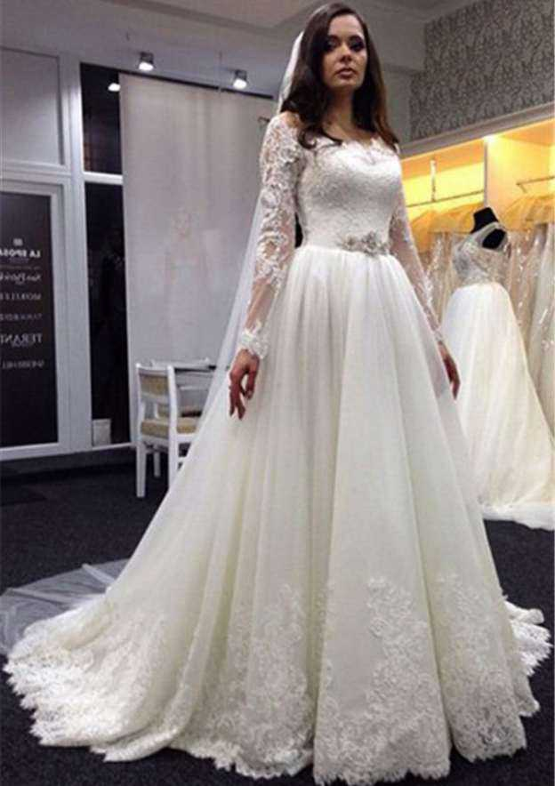 A-Line/Princess Scalloped Neck Full/Long Sleeve Court Train Tulle Wedding Dress With Appliqued Crystal Lace