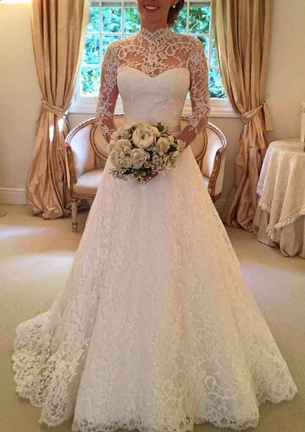 A-Line/Princess High-Neck Full/Long Sleeve Court Train Lace Wedding Dress With Bowknot