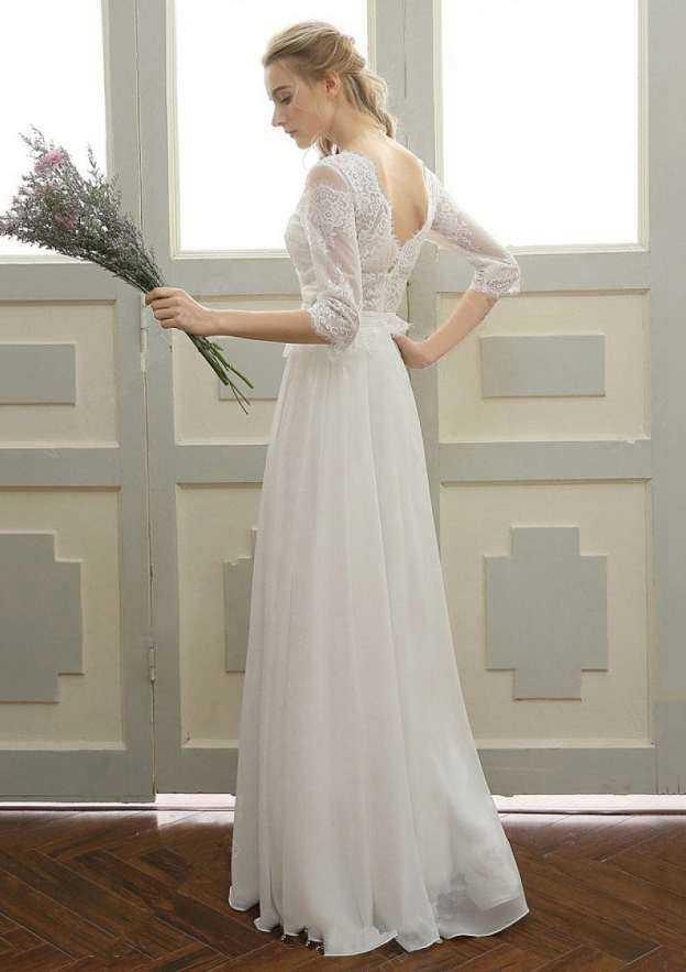 A-Line/Princess Bateau 3/4 Sleeve Long/Floor-Length Chiffon Wedding Dress With Appliqued Lace Sashes