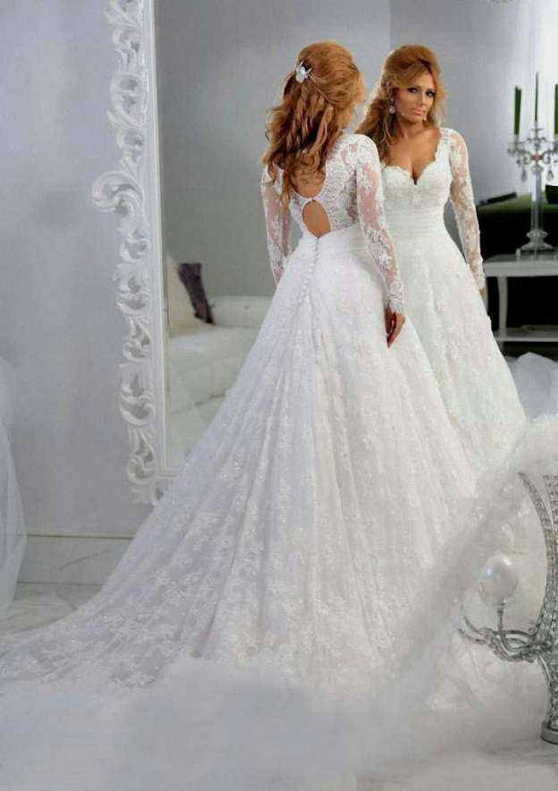 Ball Gown Sweetheart Full/Long Sleeve Chapel Train Lace Wedding Dress With Appliqued Sashes
