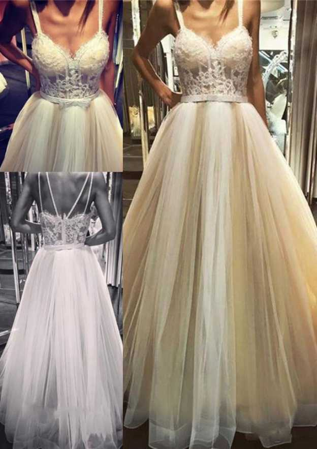 A-Line/Princess Sweetheart Sleeveless Long/Floor-Length Tulle Wedding Dress With Appliqued Lace Waistband