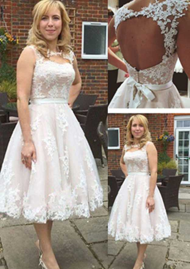 Ball Gown Scalloped Neck Sleeveless Tea-Length Tulle Wedding Dress With Appliqued Sashes