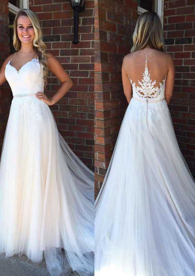 A-Line/Princess Bateau Sleeveless Court Train Tulle Wedding Dress With Appliqued Lace Waistband