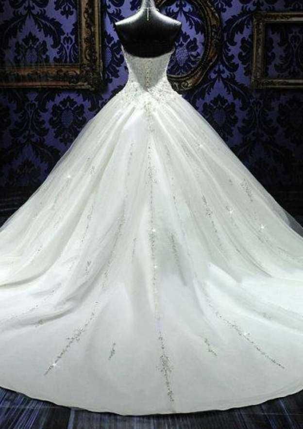 Ball Gown Sweetheart Sleeveless Cathedral Train Tulle Wedding Dress With Beading Crystal