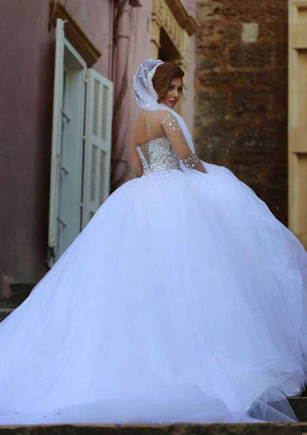 Ball Gown Scoop Neck Full/Long Sleeve Court Train Tulle Wedding Dress With Crystal Rhinestone