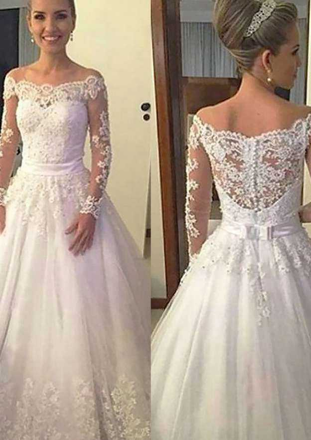 Ball Gown Off-The-Shoulder Full/Long Sleeve Long/Floor-Length Tulle Wedding Dress With Appliqued Beading Sashes