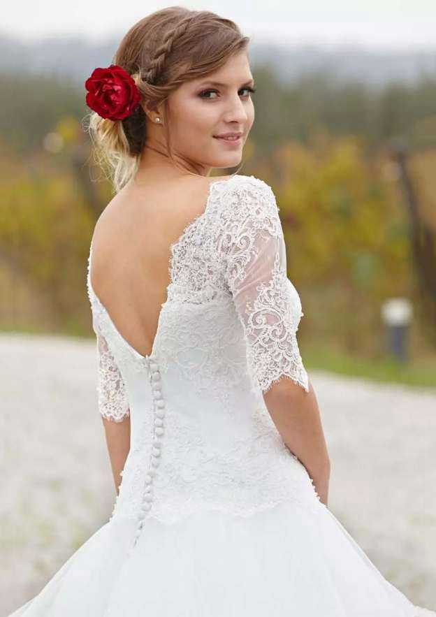 Ball Gown Bateau Half Sleeve Long/Floor-Length Organza Wedding Dress With Appliqued Lace