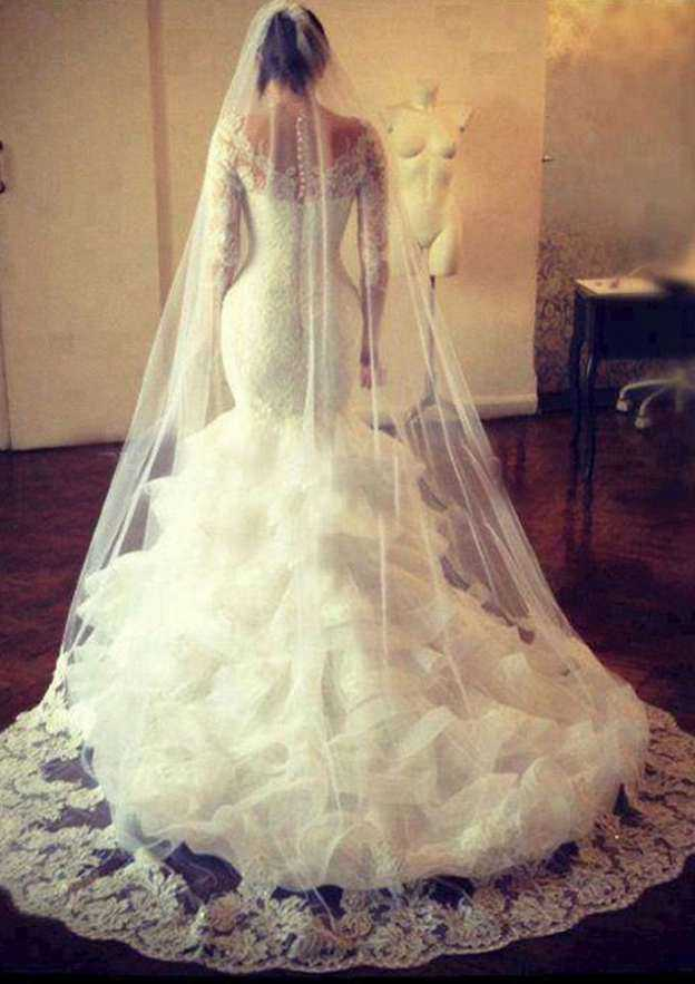 Trumpet/Mermaid Scalloped Neck Full/Long Sleeve Court Train Tulle Wedding Dress With Lace