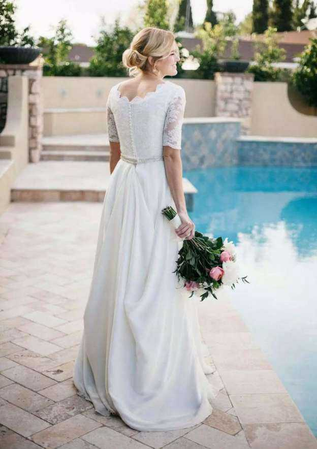 A-Line/Princess Scalloped Neck Half Sleeve Sweep Train Chiffon Wedding Dress With Appliqued Lace Waistband