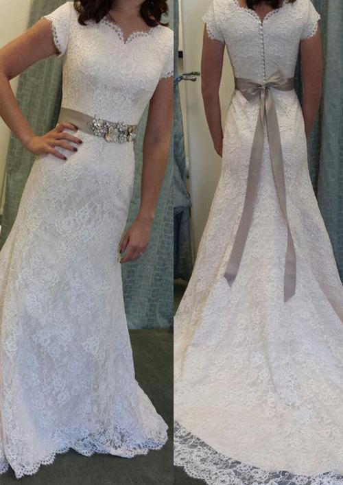 Sheath/Column Scalloped Neck Short Sleeve Court Train Lace Wedding Dress With Waistband