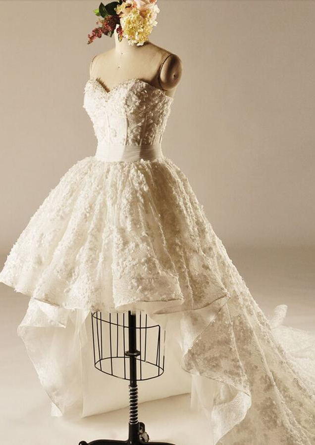 Ball Gown Sweetheart Sleeveless Asymmetrical Lace Wedding Dress With Appliqued Sashes